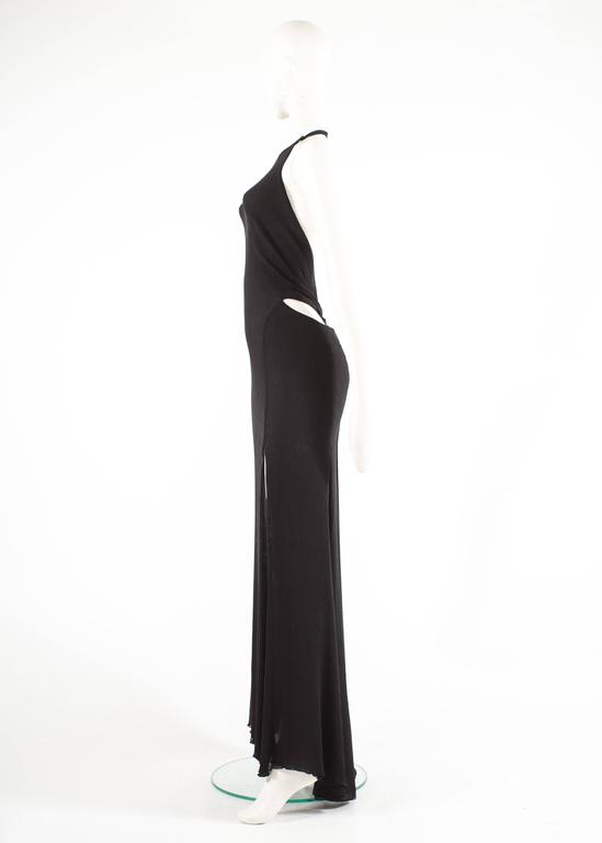 Gianni Versace 1990s black crinkled silk halter neck evening gown 6