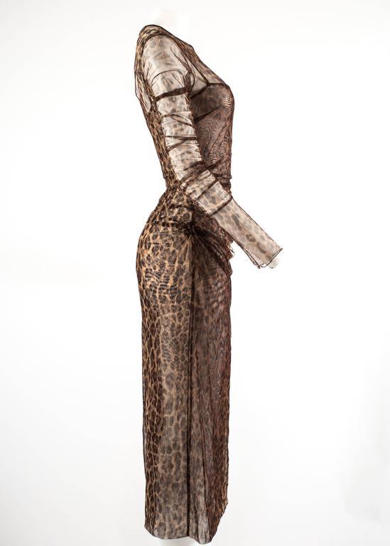 Dolce & Gabbana Spring-Summer 1997 leopard print mesh evening dress 7