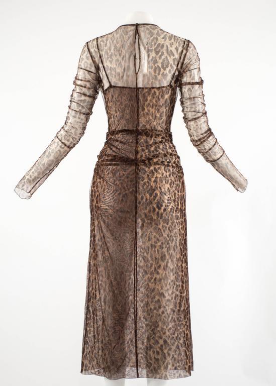 Dolce & Gabbana Spring-Summer 1997 leopard print mesh evening dress 8