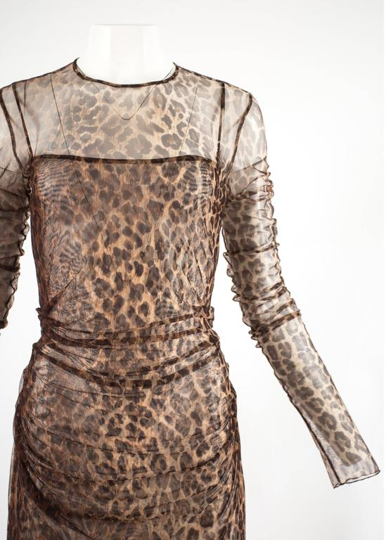 Dolce & Gabbana Spring-Summer 1997 leopard print mesh evening dress In Excellent Condition For Sale In London, GB