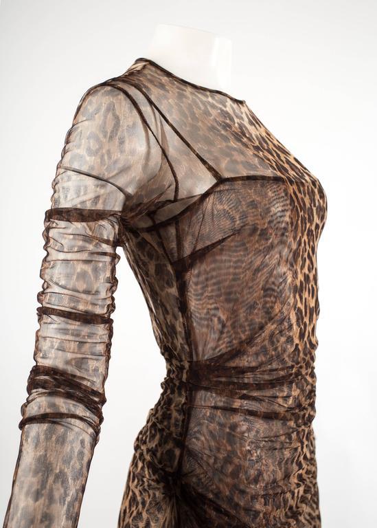 Dolce & Gabbana Spring-Summer 1997 leopard print mesh evening dress 6