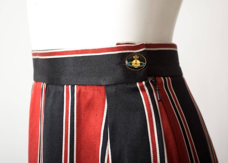 Vivienne Westwood Spring-Summer 1996 striped satin pencil skirt 3