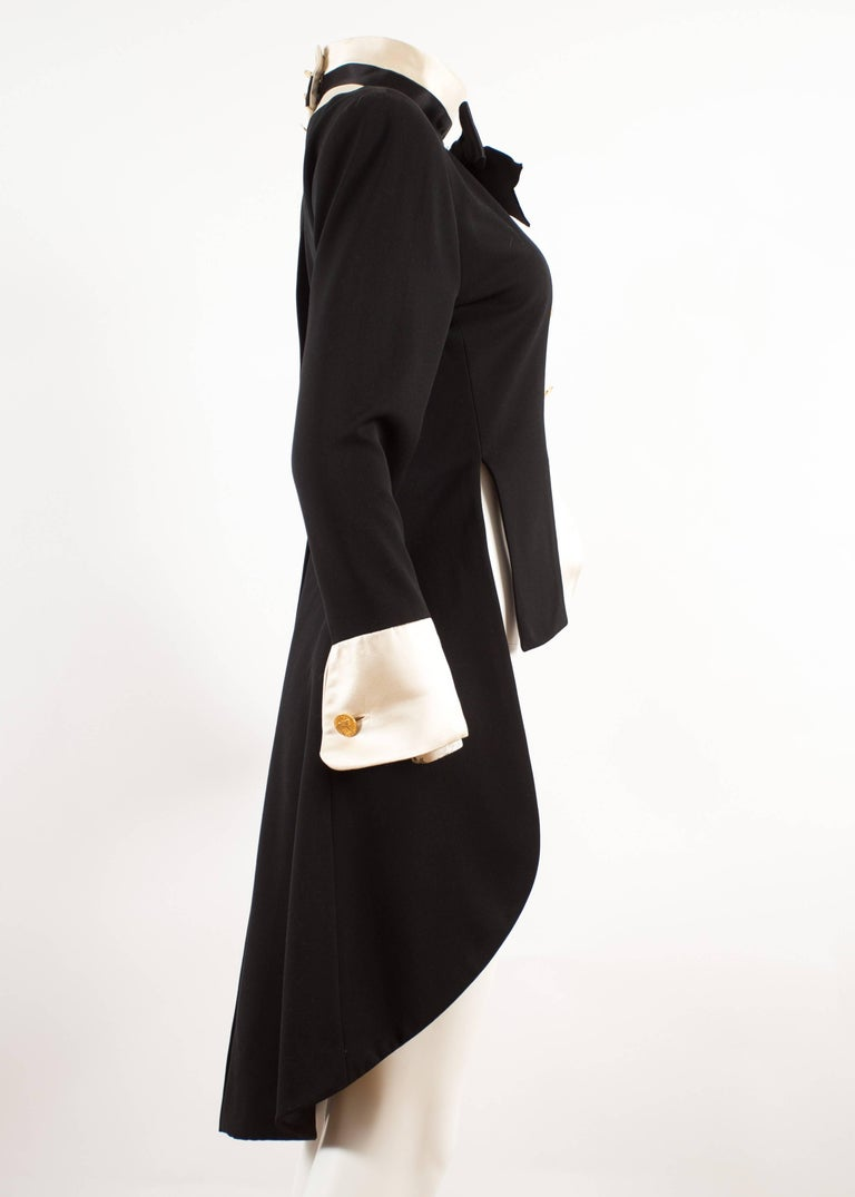 Women's Chanel 1980s black silk evening tailcoat  For Sale