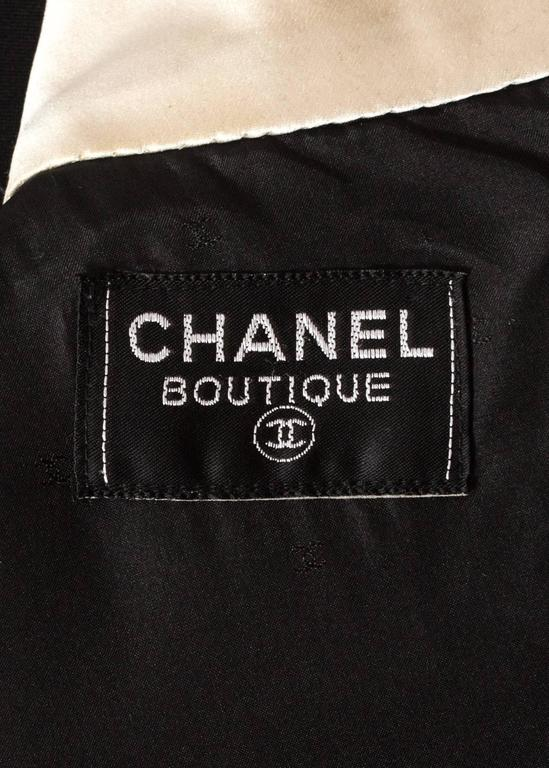 Chanel 1980s black silk evening tailcoat  For Sale 4