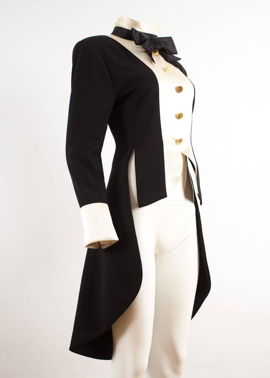 Black Chanel 1980s black silk evening tailcoat  For Sale