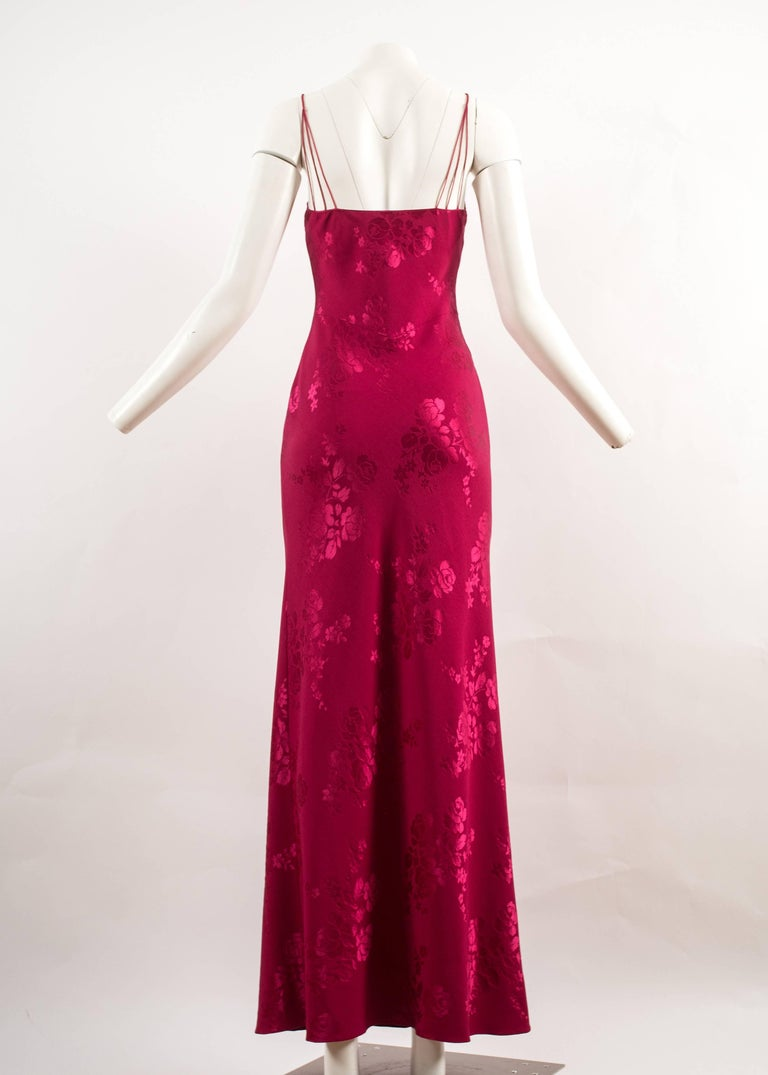 John Galliano for Christian Dior 1990s magenta pink bias cut evening dress In Excellent Condition For Sale In London, GB