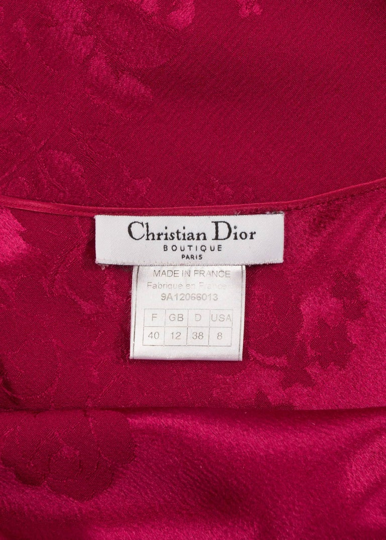 John Galliano for Christian Dior 1990s magenta pink bias cut evening dress For Sale 1