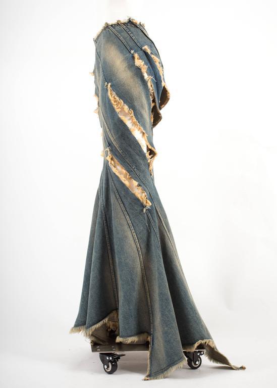 Junya Watanabe Spring-Summer 2002 bias cut denim flared skirt  For Sale 2
