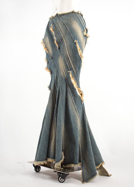 Women's Junya Watanabe Spring-Summer 2002 bias cut denim flared skirt  For Sale