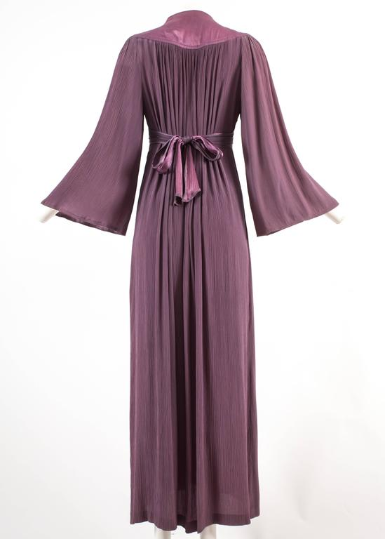 Ossie Clark 1970 pleated purple evening dress For Sale 2