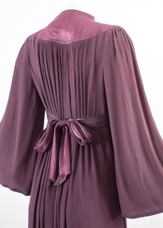 Ossie Clark 1970 pleated purple evening dress For Sale 1