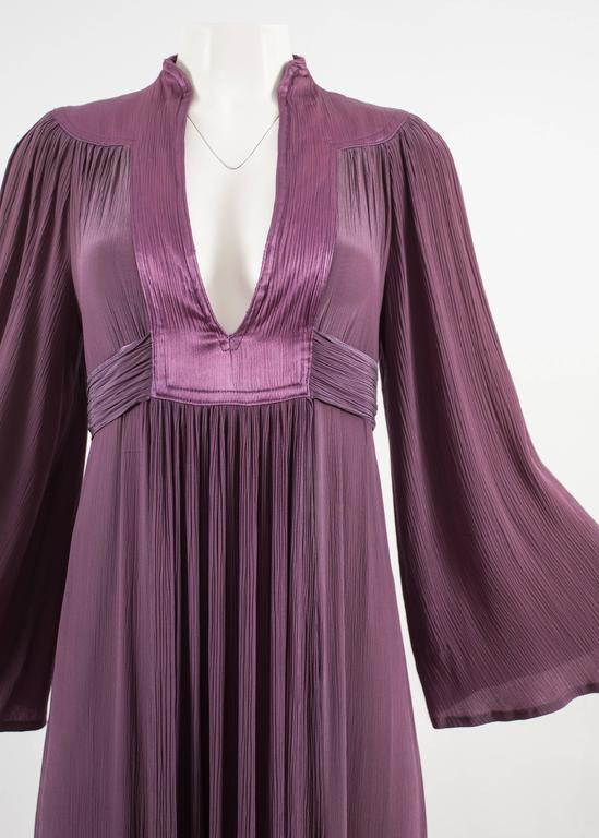 Black Ossie Clark 1970 pleated purple evening dress For Sale