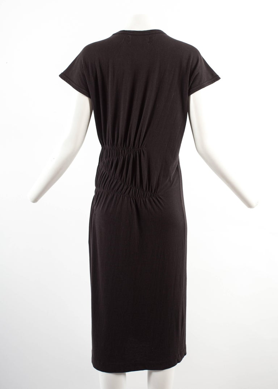 Comme des Garcons 1983-84 black cotton smocked dress For Sale 1