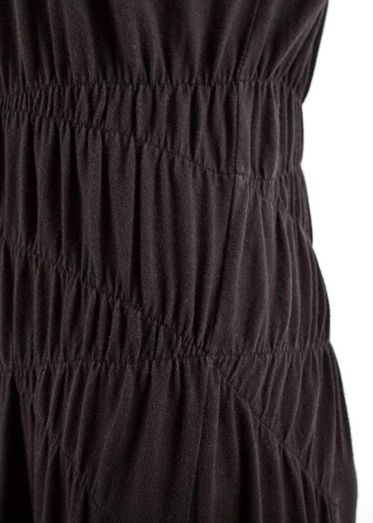 Comme des Garcons 1983-84 black cotton smocked dress In Good Condition For Sale In London, GB