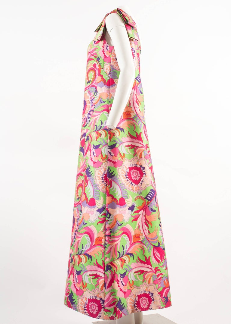 Christian Dior 1960s asymmetric silk evening a-line dress  In Good Condition For Sale In London, GB