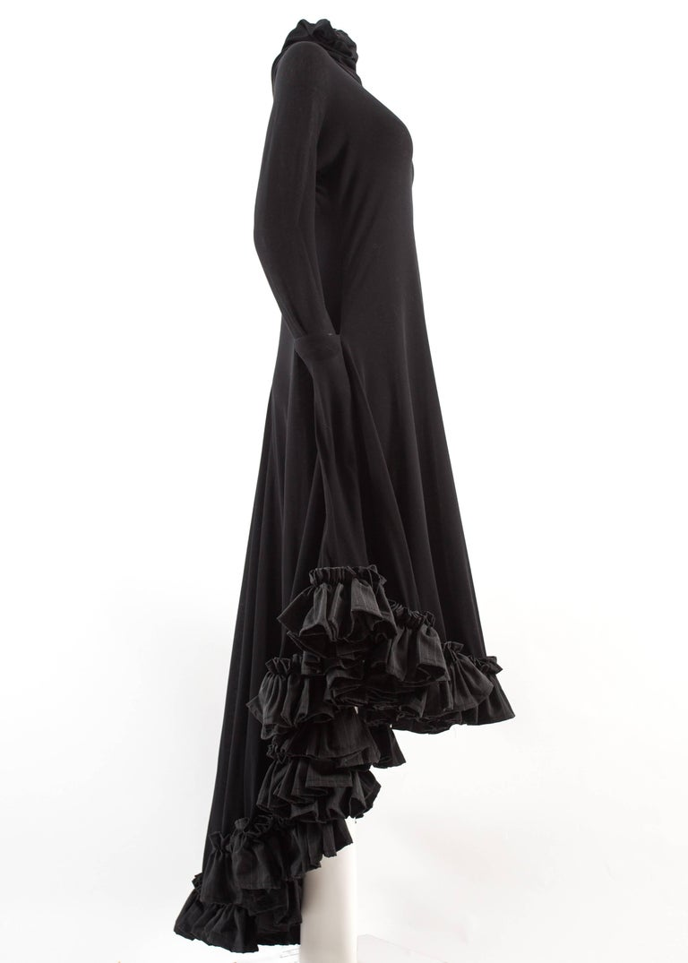 Yohji Yamamoto Spring-Summer 1999 black cotton evening dress with ruffles  For Sale 4