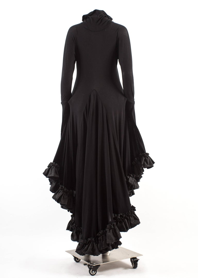 Yohji Yamamoto Spring-Summer 1999 black cotton evening dress with ruffles  For Sale 3