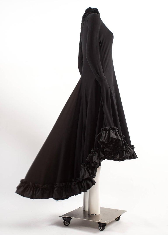 Yohji Yamamoto Spring-Summer 1999 black cotton evening dress with ruffles  5