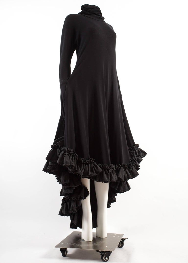 Yohji Yamamoto Spring-Summer 1999 black cotton evening dress with ruffles  For Sale 1