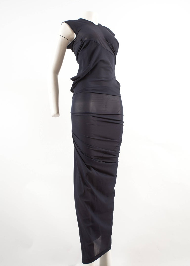 Comme des Garcons AD 1996 four sleeve navy blue twisted sheer maxi dress For Sale 1