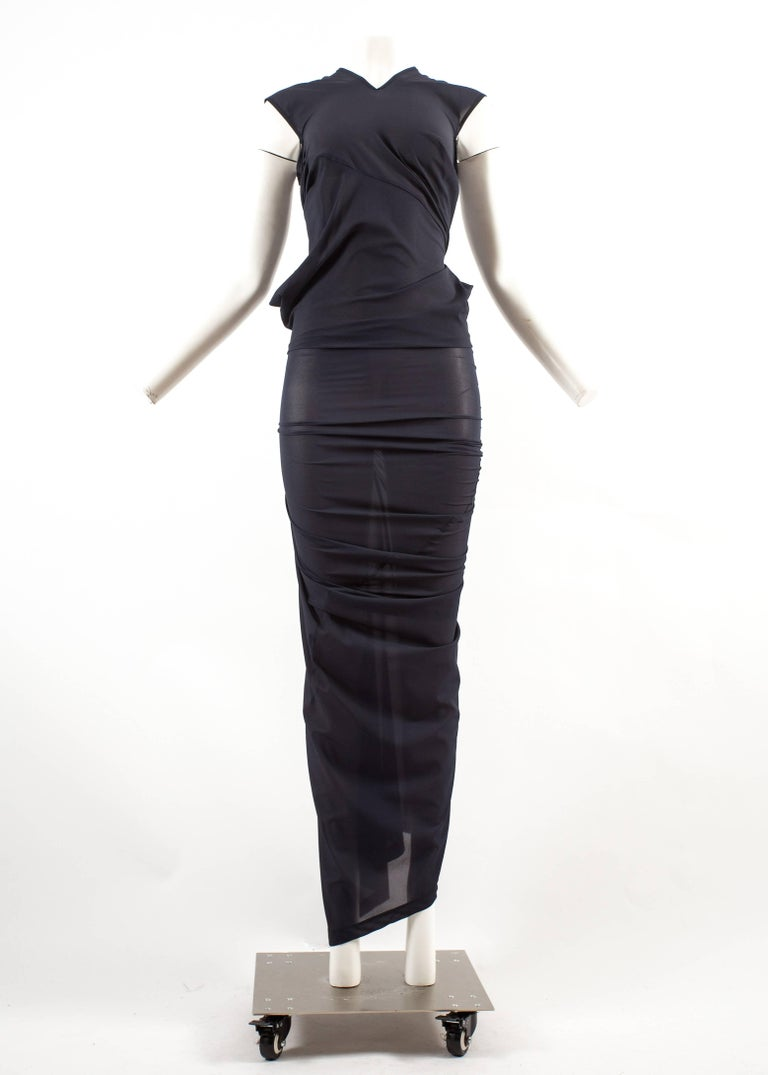 Women's Comme des Garcons AD 1996 four sleeve navy blue twisted sheer maxi dress For Sale