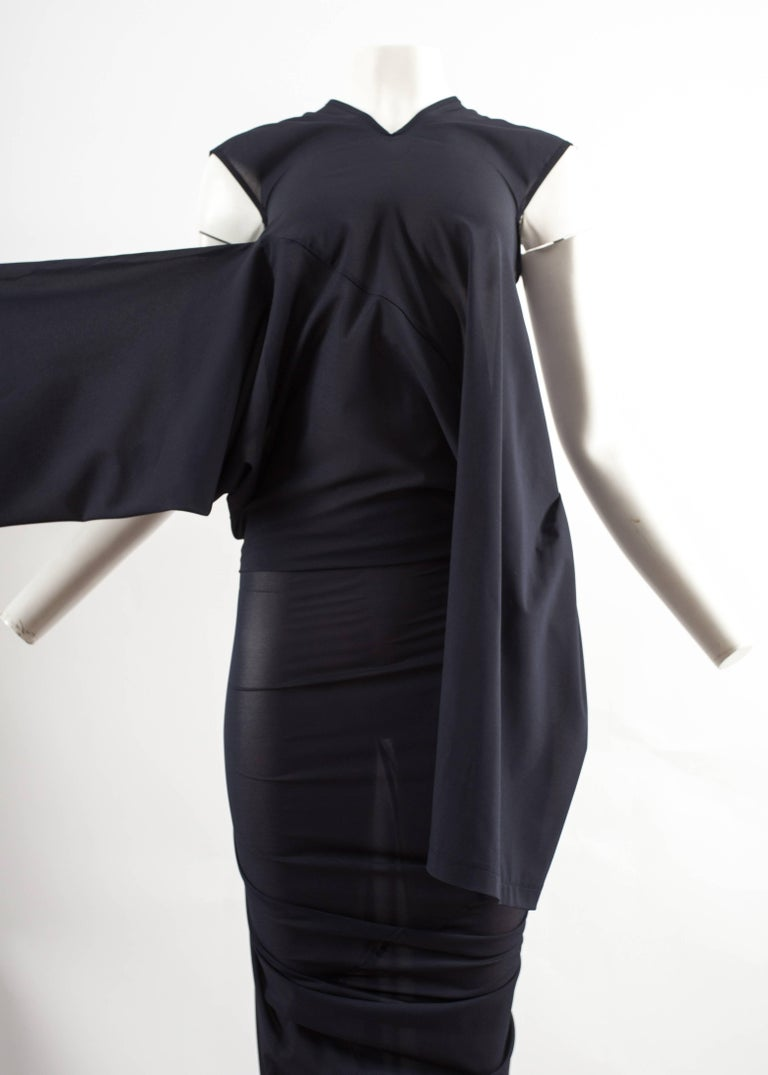 Comme des Garcons AD 1996 four sleeve navy blue twisted sheer maxi dress In Excellent Condition For Sale In London, GB