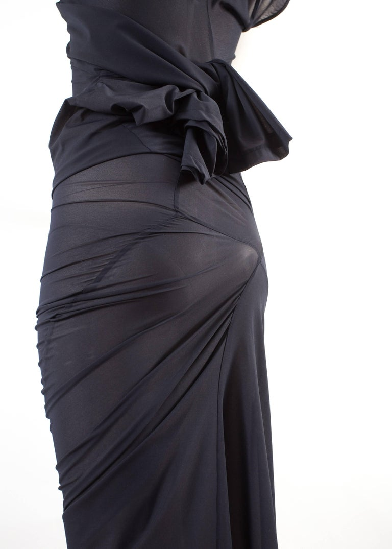 Comme des Garcons AD 1996 four sleeve navy blue twisted sheer maxi dress For Sale 3