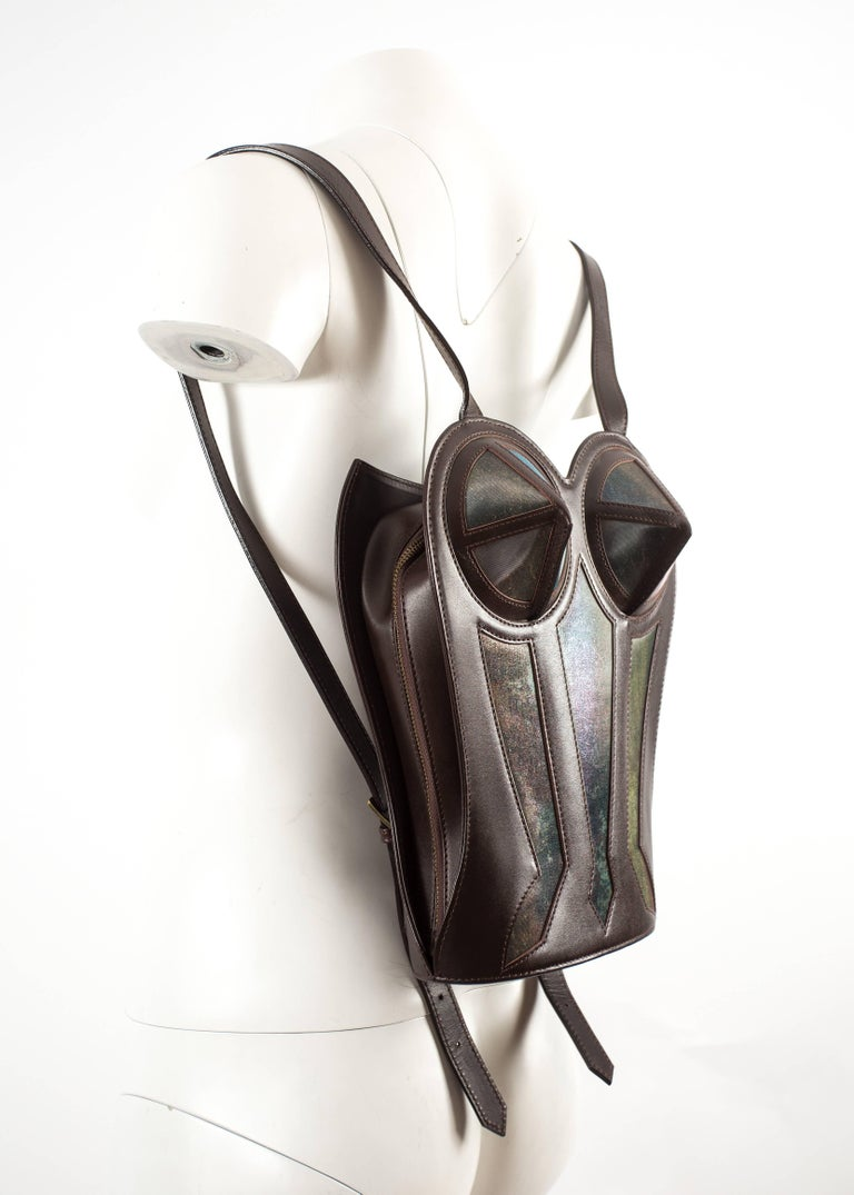 Black Jean Paul Gaultier 1998 brown leather bustier backpack  For Sale