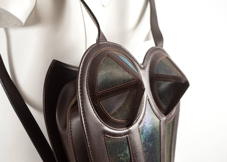 Jean Paul Gaultier 1998 brown leather bustier backpack  In Excellent Condition For Sale In London, GB