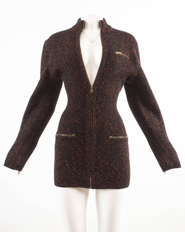 Alaia Autumn-Winter 1986 knitted zipper mini dress In Excellent Condition For Sale In London, GB