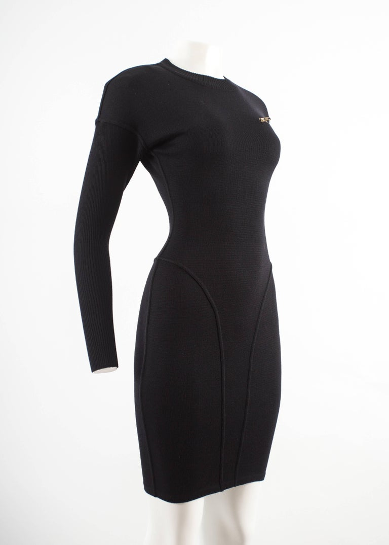 Women's Alaia Autumn-Winter 1986 black knitted body con dress For Sale