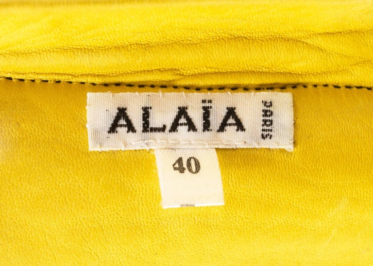 Alaia 1994 black leather bra with fringing  For Sale 4