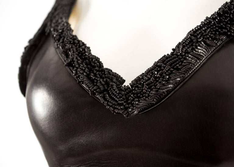 Alaia 1994 black leather bra with fringing  For Sale 1