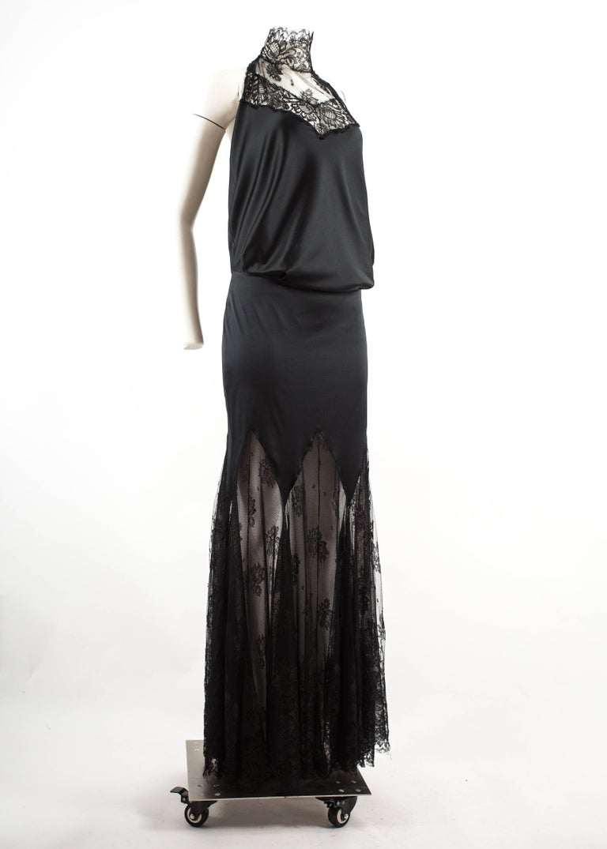 Alexander McQueen Autumn-Winter 2001 black silk and lace evening ...
