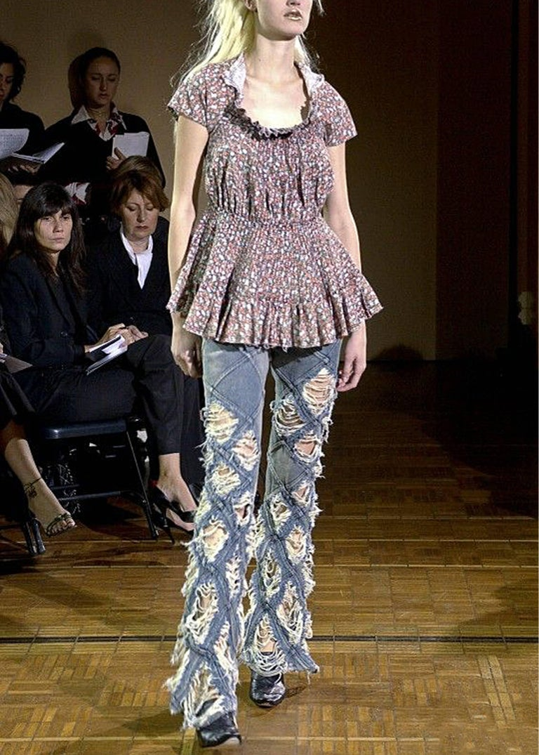 Gray Junya Watanabe denim jeans and cotton blouse ensemble, Spring-Summer 2002  For Sale
