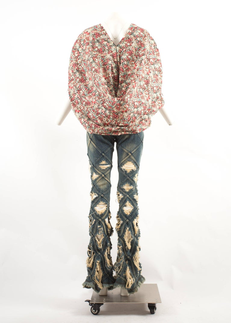 Junya Watanabe denim jeans and cotton blouse ensemble, Spring-Summer 2002  For Sale 4