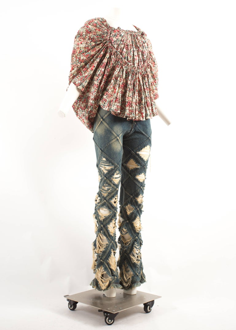 Junya Watanabe denim jeans and cotton blouse ensemble, Spring-Summer 2002  In Excellent Condition For Sale In London, GB