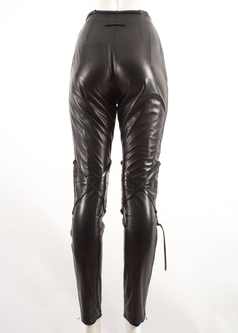 Jean Paul Gaultier Autumn-Winter 1990 black and brown leather biker pants In Excellent Condition For Sale In London, GB