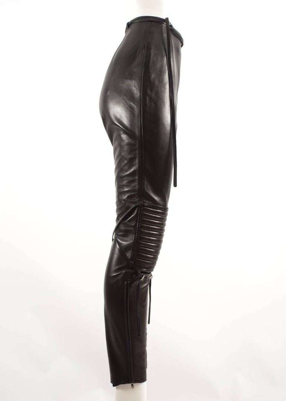 Black Jean Paul Gaultier Autumn-Winter 1990 black and brown leather biker pants For Sale