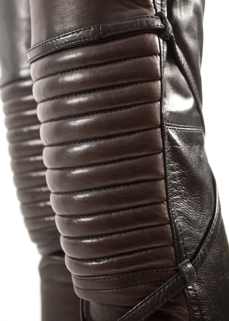 Jean Paul Gaultier Autumn-Winter 1990 black and brown leather biker pants For Sale 1