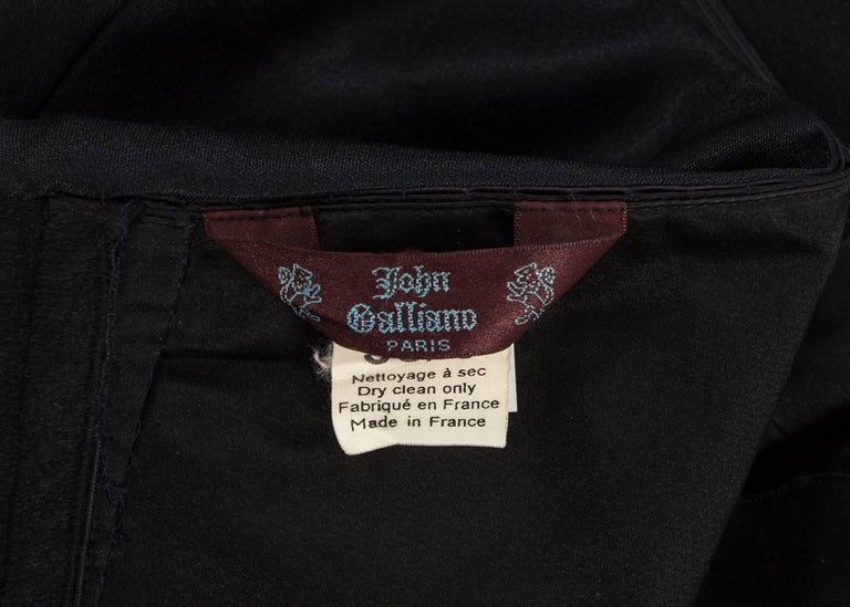 John Galliano midnight blue silk strapless evening dress, Autumn-Winter 1995  For Sale 2