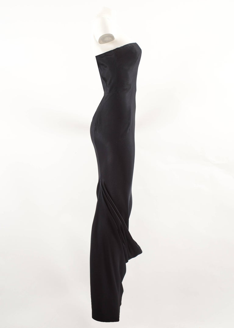 John Galliano midnight blue silk strapless evening dress, Autumn-Winter 1995  In Good Condition For Sale In London, GB