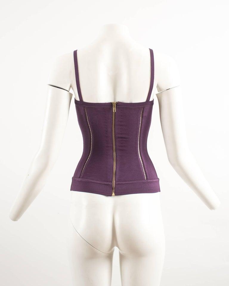 Alaia Autumn-Winter 1991 plum corset vest For Sale 3
