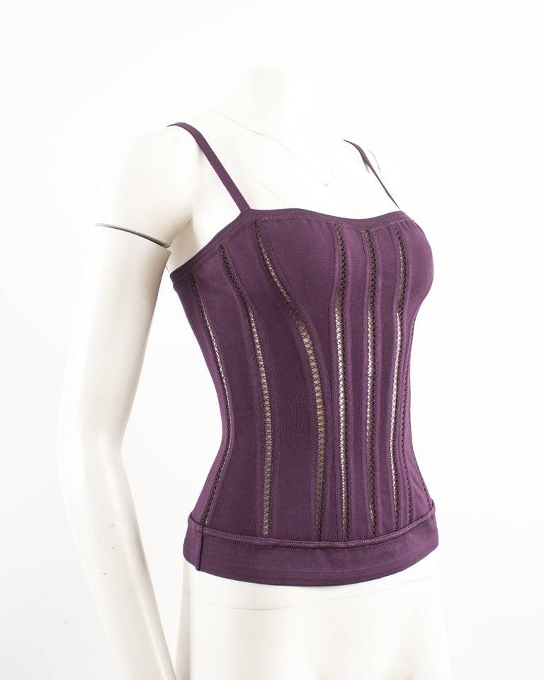 Women's Alaia Autumn-Winter 1991 plum corset vest For Sale