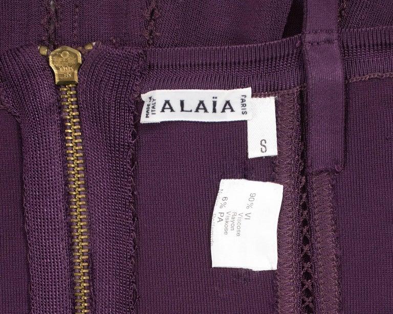 Alaia Autumn-Winter 1991 plum corset vest For Sale 4