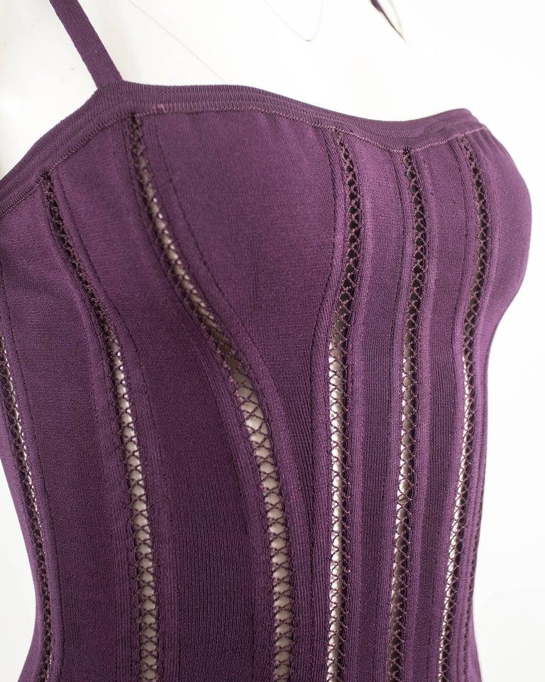 Alaia Autumn-Winter 1991 plum corset vest For Sale 1
