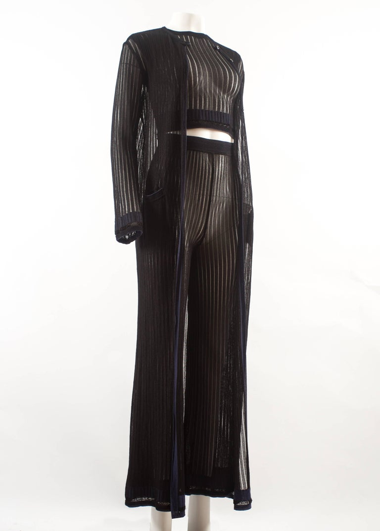 Black Alaia 3 piece knitted ensemble, Spring-Summer 1992  For Sale
