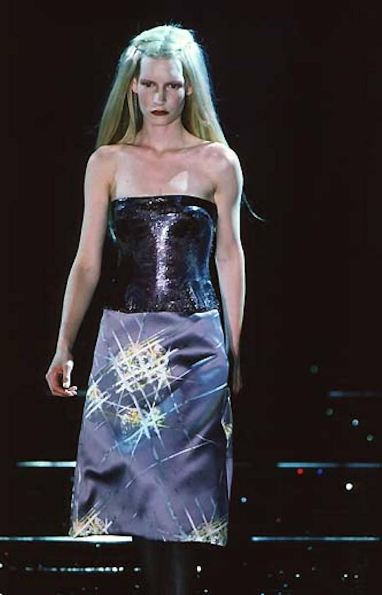 Gianni Versace Autumn-Winter 1998 silver metal mesh corset For Sale 3