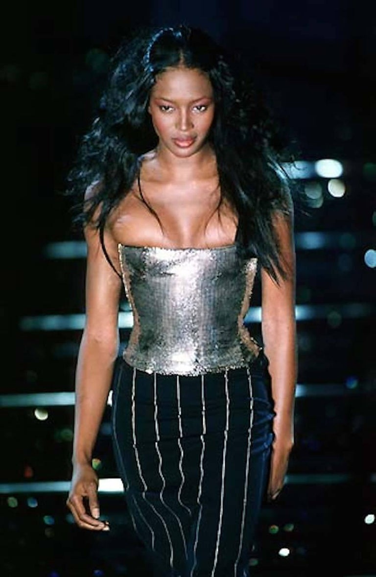 Gianni Versace Autumn-Winter 1998 silver metal mesh corset with internal boning, silk lining and zip fastening on the side seam