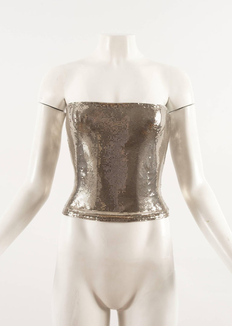 Gianni Versace Autumn-Winter 1998 silver metal mesh corset In New Condition For Sale In London, GB